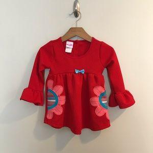 Nannette Kids Red Floral Bell Sleeve Ruffle Shirt
